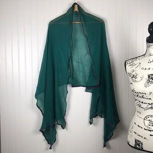 Accessories - Green Indian Saree Silk Scarf w/Gold & Purple Trim